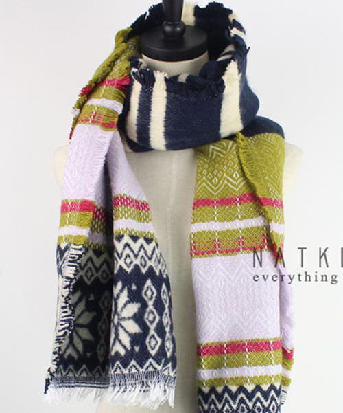 黃拼接圍巾